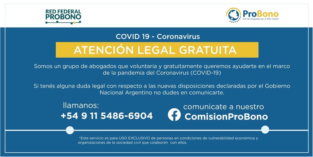 COVID-19 – Coronavirus. Atención legal gratuita